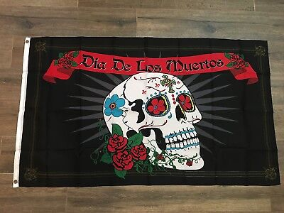 DAY OF THE DEAD HOLIDAY DECORATED SKULL DIA DE LOS MUERTOS flag banner US SELLER](Dia De Los Muertos Flags)