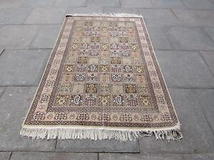 Old Shabby Chic Traditional Hand Made Indian Kashmir Gold Silk Rug 188x123cm
