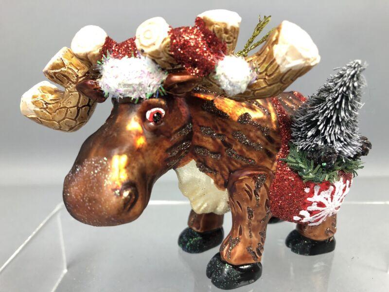 Christmas Moose Ornament Glass With Bottle Brush Tree Santa Hat Glitter Gift