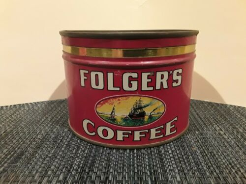 Vtg FOLGERS COFFEE CAN GOLDEN GATE FOLGER`S 1 POUND EMPTY TIN ( RARE )