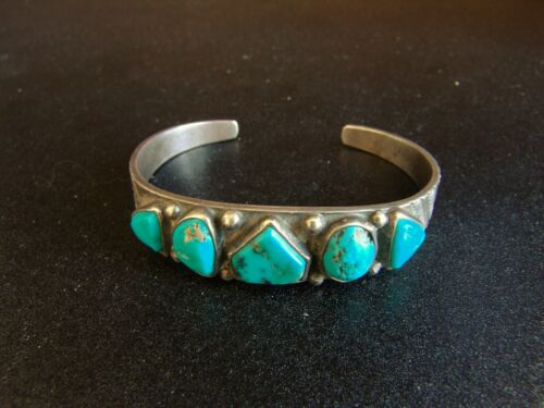 Small Navajo Turquoise and Silver Bracelet-Heavy for Size