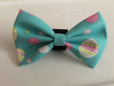 Easter And Springtime Bow Tie For Your Dog.. Easter Eggs On Teal Background Dog Bow Tie