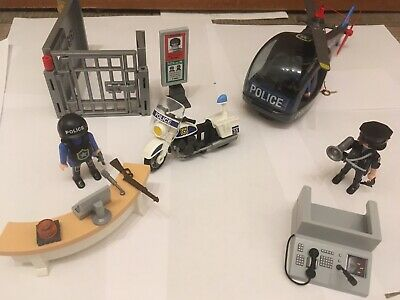 Playmobil Police Set With Helicopter, 2 Bikes, Jail, Figures And Desk