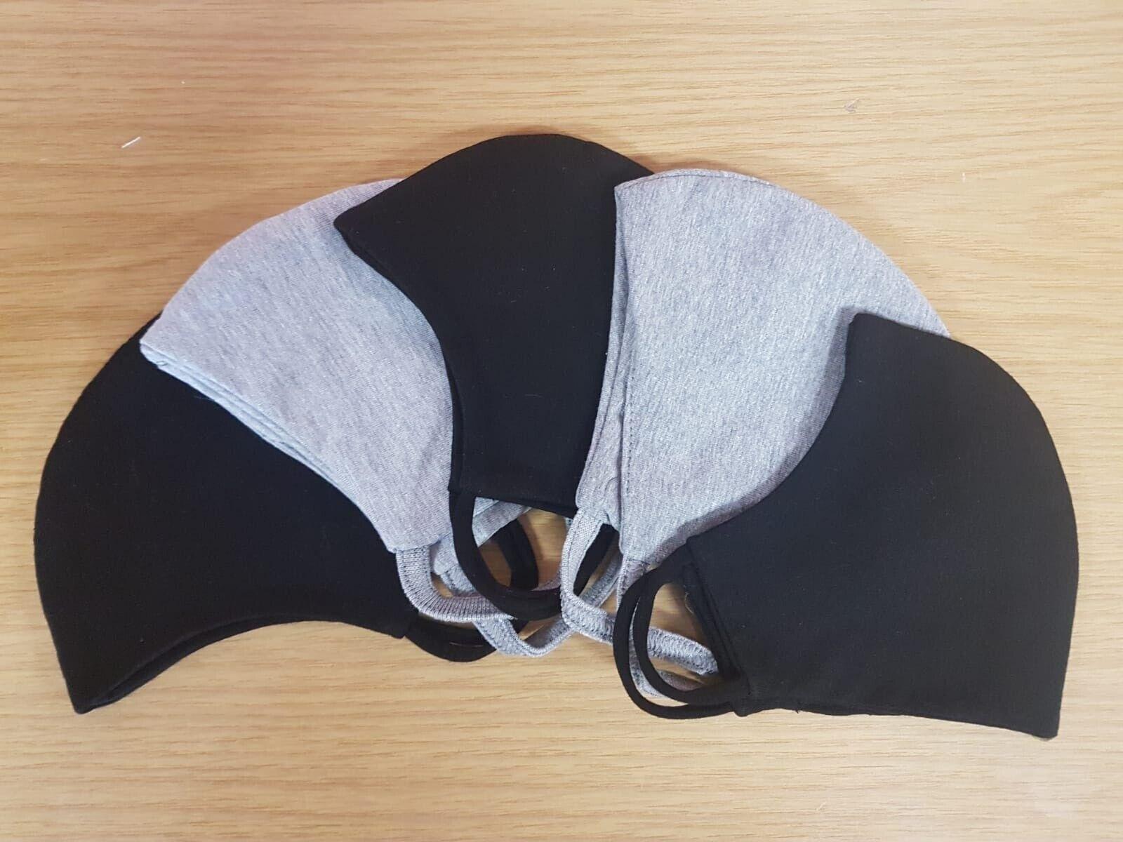 Stoffmaske (5 Stk. farbig sortiert) waschbar 60 °Mundschutz 100 %Baumwolle Maske