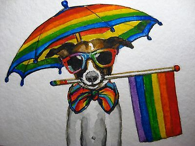 Watercolor Painting Colorful Rainbow Umbrella Dog Sunglasses Gay Flag ACEO (Watercolor Sunglasses)