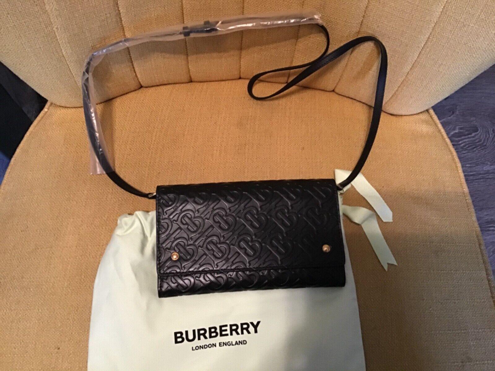 NWT Authentic BURBERRY Black Leather Hazelmore Logo Crossbody Wallet Bag
