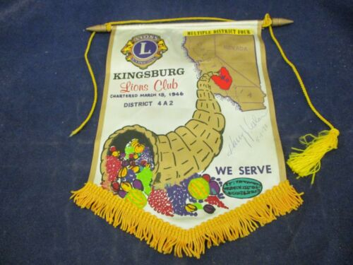 Vintage Lions Club Banner Flag 1972 SIGNED Harry of Kingsburg California