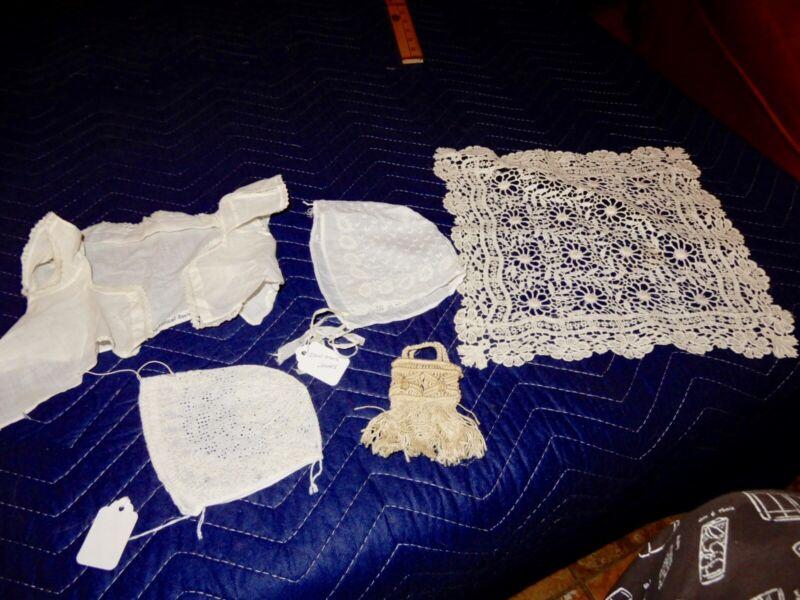 ASST. ANTIQUE CHILDS OR DOLL CLOTHES LACE BONNETS PURSE DOILIE SHIRT CA. 1850