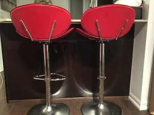 Moving: Used Red Modern Hydraulics Swivel Barstools $50 each OBO