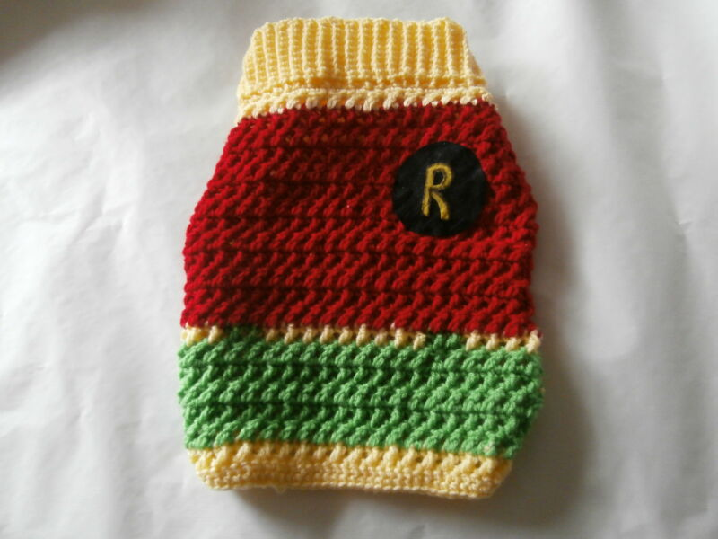 CROCHETED ROBIN (AS IN BATMAN)  DOG SWEATER IN X/SMALL, SMALL AND MEDIUM