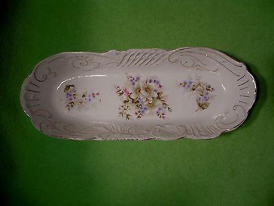 Antique porcelain oblong oval serving tray / dish w/vibrant flowers & hand paint