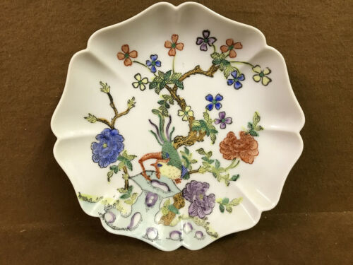 VTG Japanese Porcelain Ware Wall Plate Decor Flowers Rooster
