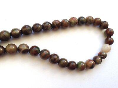 Jewellery Making Natural Gemstone Ocean Jasper 6mm Rd Beads - Dyed Brown 30pcs