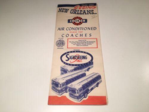 Vintage New Orleans Travel Brochure Checker Bus Tours French Quarter Plantations