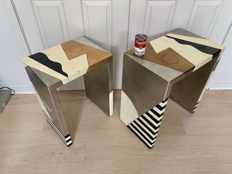 2 Post Modern Hand Made Studio Nesting Tables 1960-1970 Original