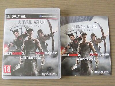 PLAYSTATION 3 PS3 ULTIMATE ACTION TRIPLE PACK TOMB RAIDER SLEEPINGS DOGS .... FR