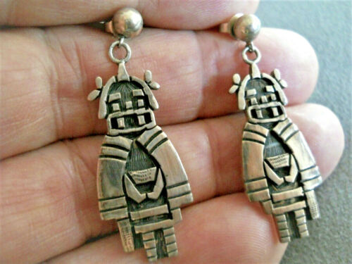 HOPI SILVER CRAFT GUILD Sterling Silver Kachina Etched Overlay Post Earrings