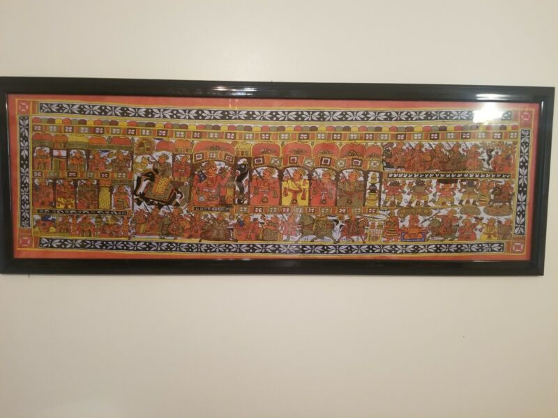 PHAD RAJASTHAN HAND PAINTED FOLK ART INDIA  59 INCHES LONG IN BLACK FRAME