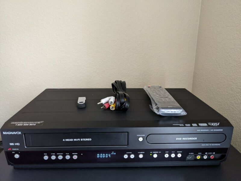 REFURBISHED! Magnavox ZV450MW8 A DVD Recorder VHS VCR Combo w/Remote Cables