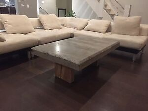 Concrete Coffee Table with Oak Legs