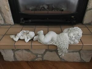 Mother Cherub & Baby - for fireplace mantle or Wall Shelf - $55