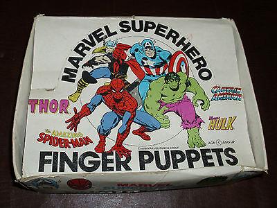 - Vintage Marvel Super Hero Finger Puppets Full Display Box Rare Marvelmania 1978