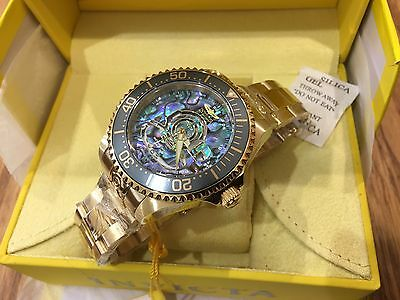 23454 Invicta 47mm Grand Diver Automatic Abalone Dial 18GP SS Bracelet Watch