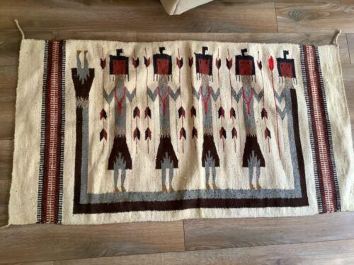 Vintage Aztec Navajo Tribal Southwestern Wool Reversible Rug Blanket Native