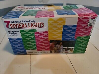 NOS Vintage Riviera Lights 7 Blow Mold Plastic String Lights Patio Party RV FUN!