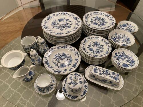 63 pc Blue Danube Blue Onion Dinnerware Japan