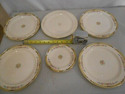 VINTAGE SET 6 EDWIN M. KNOWLES CHINA CO SHAPE HOSTESS MADE IN USA PLATES
