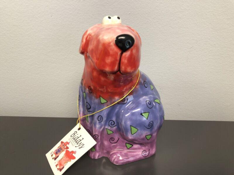 Biddys Ceramic Coin Bank Painted Dog