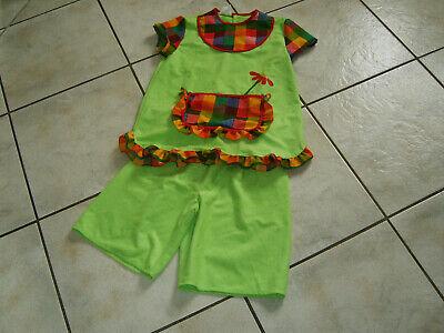 Super Kostüm PIPI LANGSTRUMPF Gr.152 grün bunt Flicken Karneval Fasching
