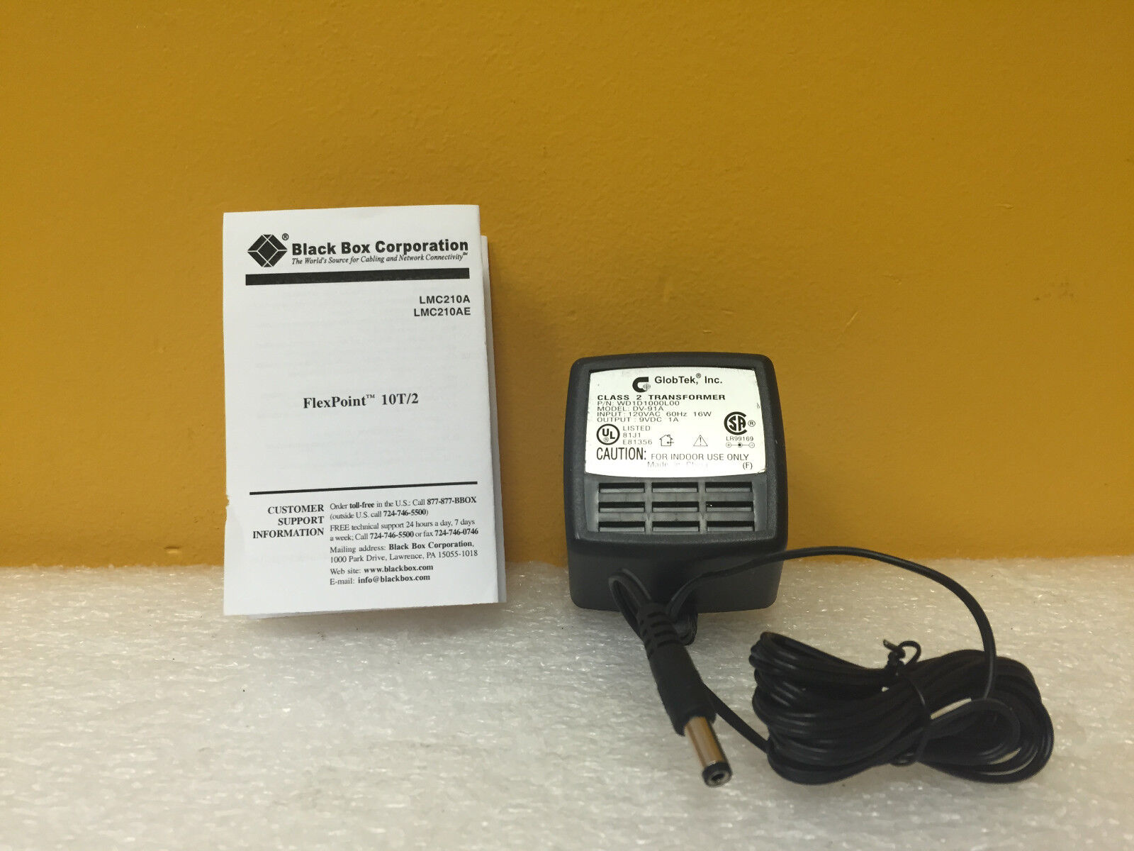Black Box LMC203A, 120 VAC, 60 Hz, 16 W, 9V-1A, AC Adapter / Transformer, New!