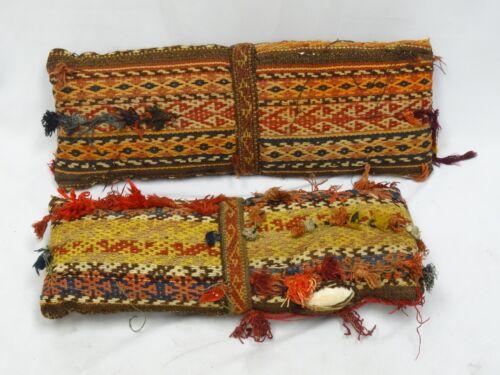 Pair of Vintage Ikat Kilim Cushion Organic Tribal Pillow Sofa Couch Lumbar Kilim