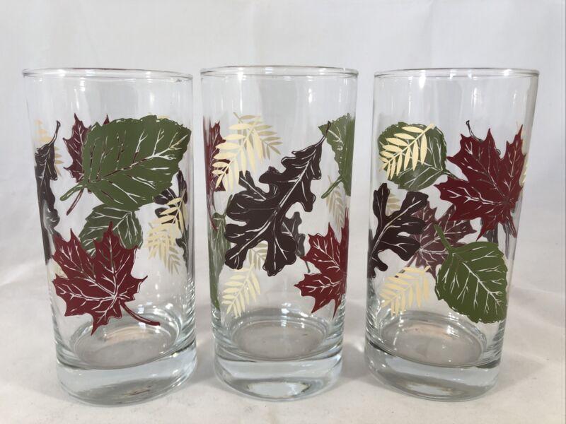 """3 Vintage Libbey Tumblers Highball Iced Tea Glasses 6"""" Autum Fall Leaves Leaf"""
