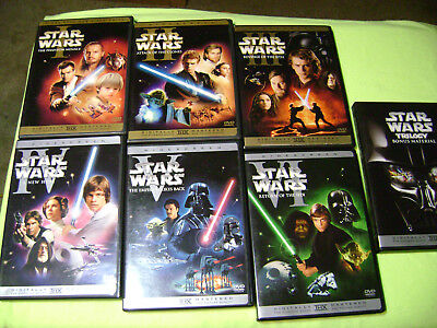 STAR WARS COMPLETE SAGA 1 - 6 I,II,III,IV,V,VI  DVD WIDE-SCREEN DVDS