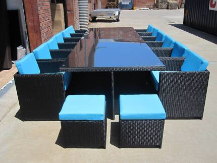16 Seat Outdoor Wicker Dining Setting Table Chairs