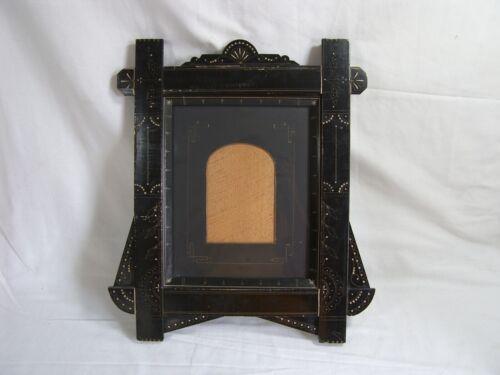 Antique Old Victorian Eastlake Lacquered Ebony Decorative Picture Frame Unique