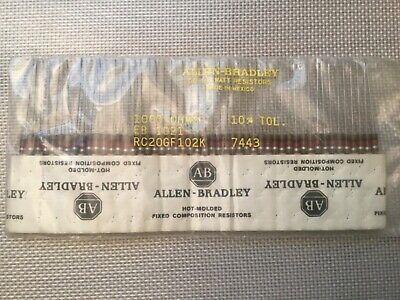 Lot Of 50 Allen Bradley Rc20gf102k Resistors 1000 Ohms 12 Watt 10 Tolerance