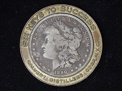 """1890-O Encased Morgan Dollar - Calver Distillers, NYC - """"Six Keys To Success"""""""