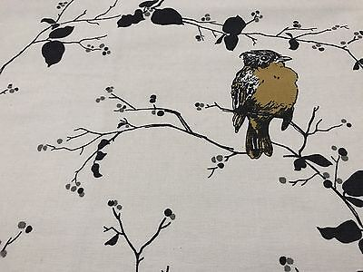 YELLOW GOLD BIRD CANVAS DRAPERY UPHOLSTERY FABRIC 2.YDS
