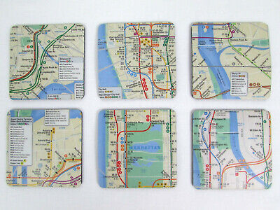 - Lot of 6 Official MTA Manhattan Subway Route Map Coasters New York City NYC