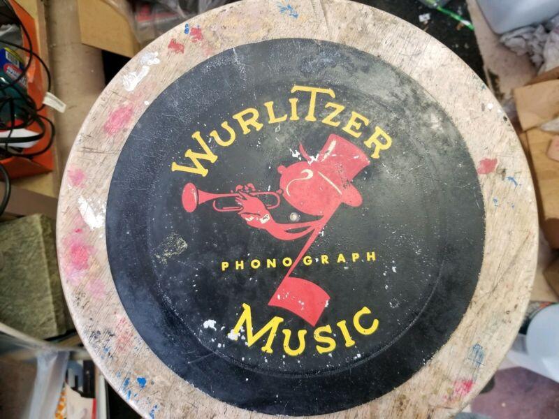 Antique Wurlitzer Advertising Sign - 10 inch painted metal original