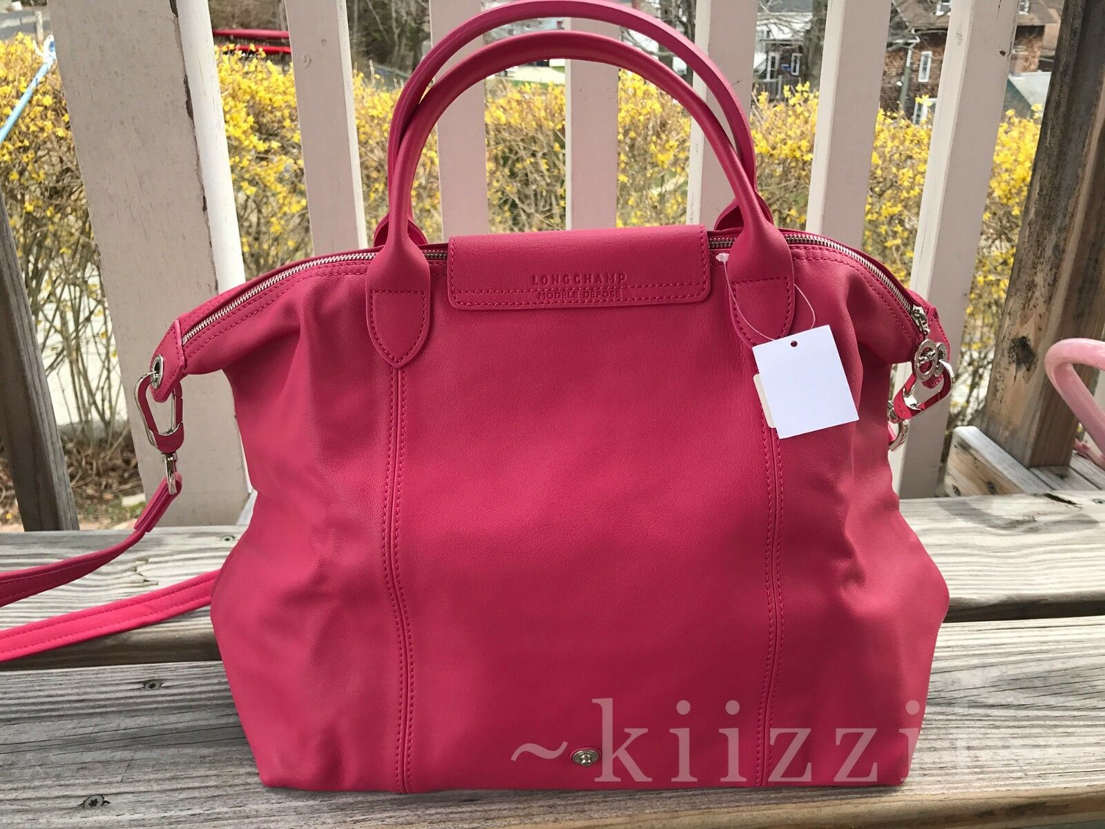 e1cc2a89a470 ... NEW w dustbag Longchamp Le Pliage Cuir Leather Tote Pink Medium Handbag  Foldable фото ...