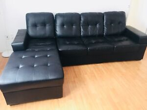 L shape black faux leather couch