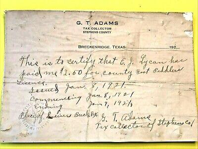Antique 1921 Breckenridge, Texas Foot Peddler Tax Receipt - Stephens County #2