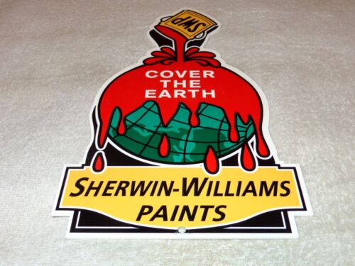 "VINTAGE ""SHERWIN WILLIAMS PAINTS COVER THE EARTH"" 12"" METAL GASOLINE & OIL SIGN!"