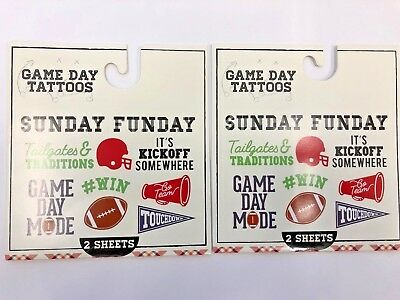 2 packs of football themed temporary tattoos party supply game day tailgating](Tailgating Supplies)