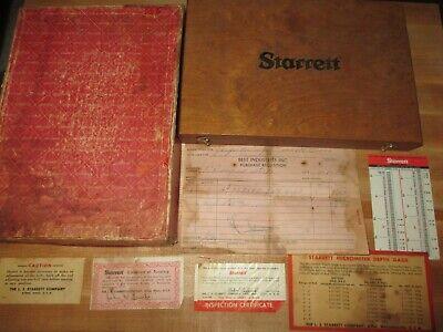 Vtg Starrett No. 445 Micrometer Depth Gage Set In Original Case Box Paperwork